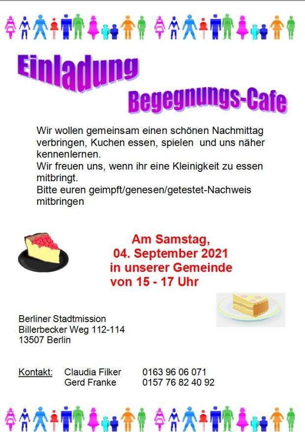 Einladungs Begegnungs-Cafe Samstag 04. September 21